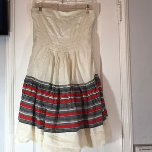 Anthropologie FLOREAT strapless dress lined linen